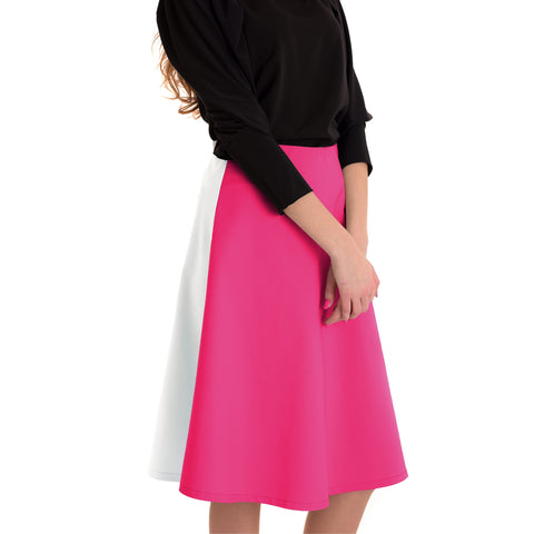 Colorblock Skirt: Pink/ White - The Mimi Boutique