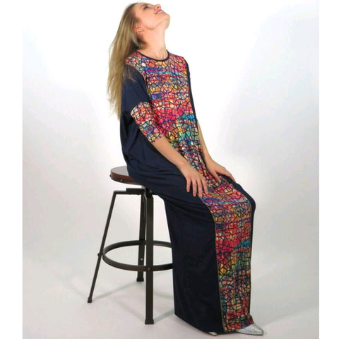 Misa Maxi: Black/ Water Color Mosaic - The Mimi Boutique