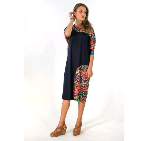 Akito Dress: Navy & Water Color Mosaic - The Mimi Boutique