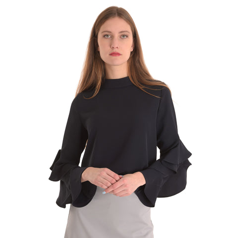 Ruffle Sleeve Top: Black - The Mimi Boutique
