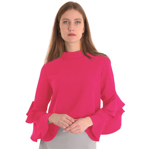 Ruffle Sleeve Top: Coral Pink - The Mimi Boutique