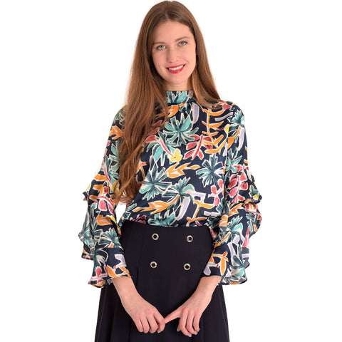 Ruffle Sleeve Top: Floral Print - The Mimi Boutique
