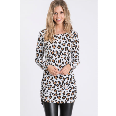 Rouched Leopars Top: Cream - The Mimi Boutique