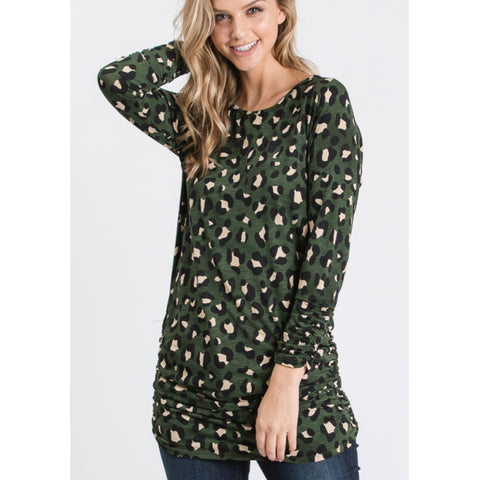 Rouched Leopars Top: Green - The Mimi Boutique