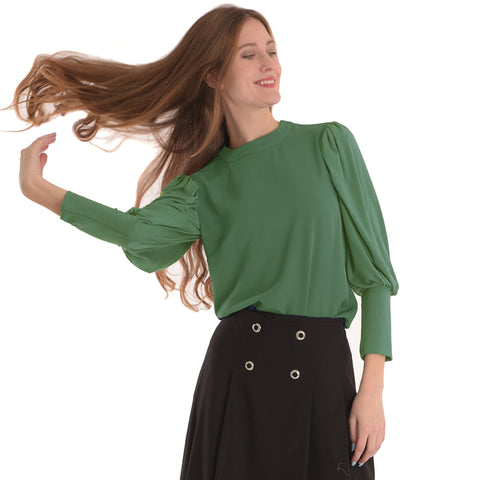 Bubble Sleeve Top: Sage Green - The Mimi Boutique