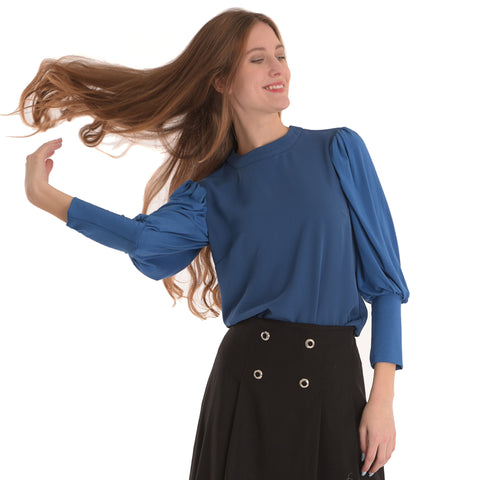 Bubble Sleeve Top: Blue - The Mimi Boutique