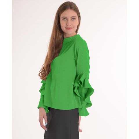 Ruffle Sleeve Top: Lime Green