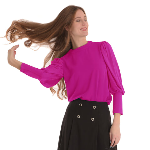Bubble Sleeve Top: Fushia Pink - The Mimi Boutique
