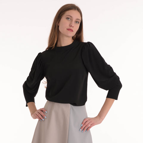 Bubble Sleeve Top: Black - The Mimi Boutique