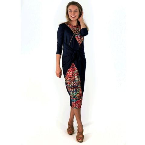 Boho Chic Dress: Stitched Black Water Color Mosaic - The Mimi Boutique