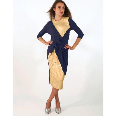 Boho Chic Dress: Stitched Navy/Camel Kintsugi