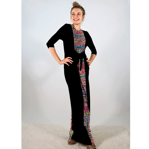 Boho Maxi Dress: Black With Water Color Mosaic