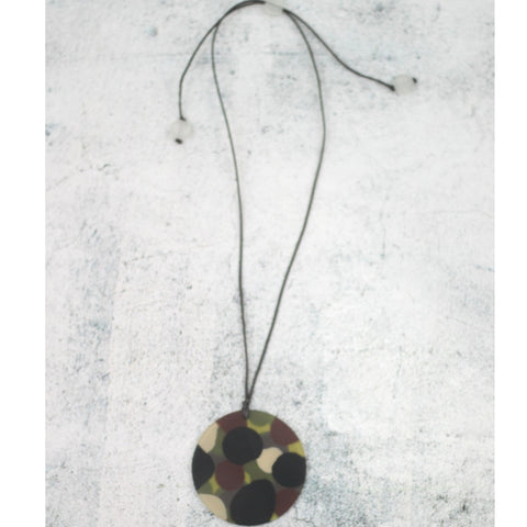 Sylica Necklace: Camo Circle - The Mimi Boutique