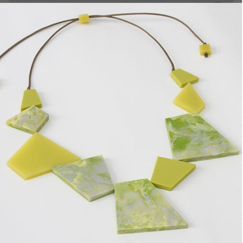 Sylica Necklace: Lime Shapes - The Mimi Boutique
