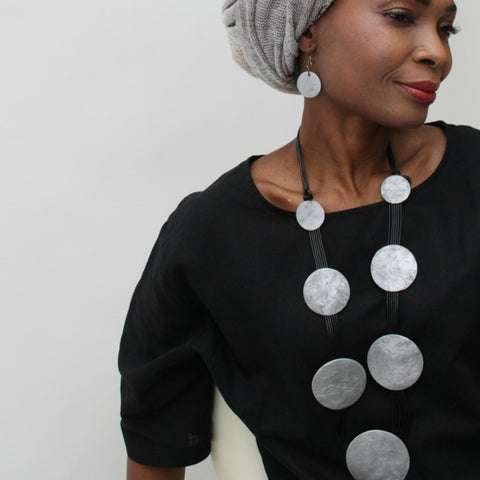 Sylca Necklace: Silver Circles - The Mimi Boutique