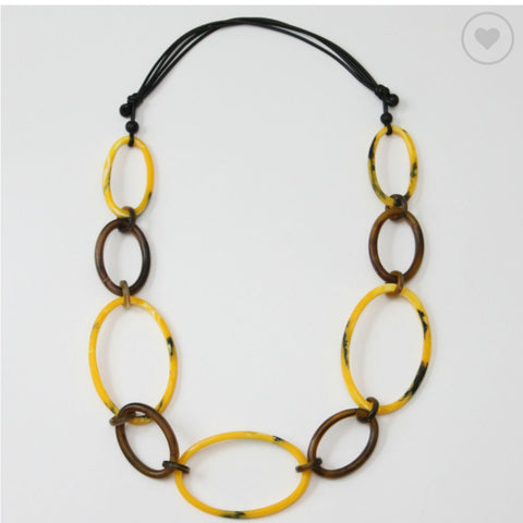 Sylica Necklace: Yellow/ Brown Ovals - The Mimi Boutique