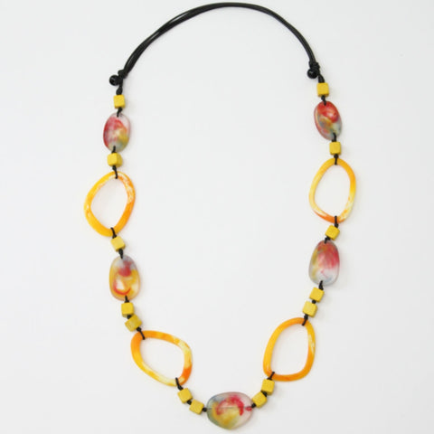 Sylca Necklace: Yellow/ Rust Squares & Ovals - The Mimi Boutique
