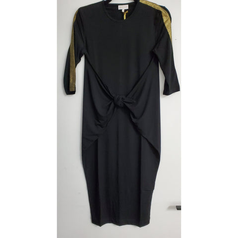 Boho Dress: Black With Gold Stripe