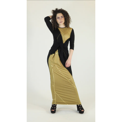 Maxi Dress: Stitched Black And Camel/ Gold Foil