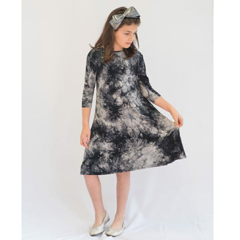 Tye Dye Tunic Dress: Black Tye Dye - The Mimi Boutique