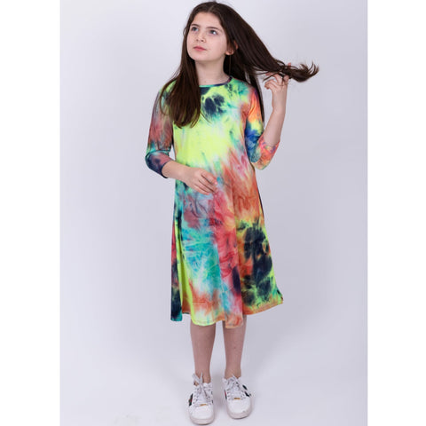 Neon Ribbed Tye Dye Dress: Multi Brights