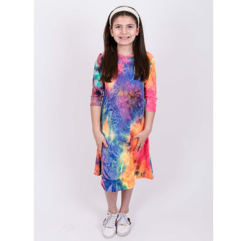 Neon Ribbed Tye Dye Dress: Multi Bold