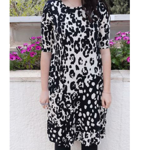 Sky Swing Dress: Black & White Leopard