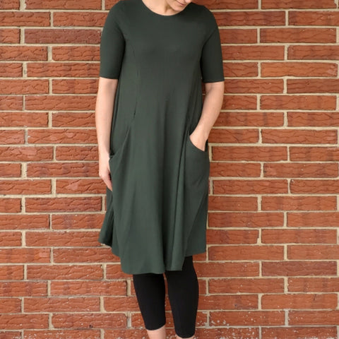 Sky Swing Dress: Solid Ribbed Green - The Mimi Boutique