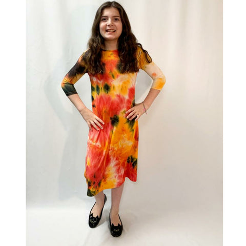 Neon Ribbed Tye Dye Dress: Orange/Pinks - The Mimi Boutique