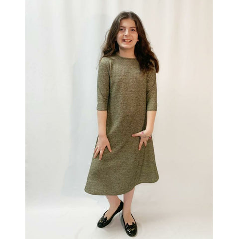 Gold Foil Knit Dress: Teen - The Mimi Boutique