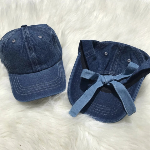 Denim Back Bow Cap