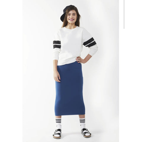 Midi Tube Skirt: Blue