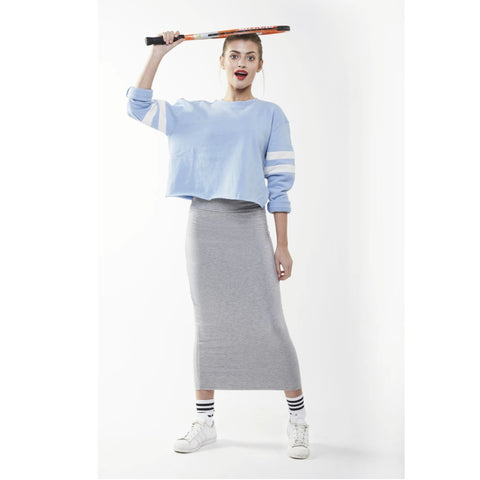 Midi Tube Skirt: Heather Grey