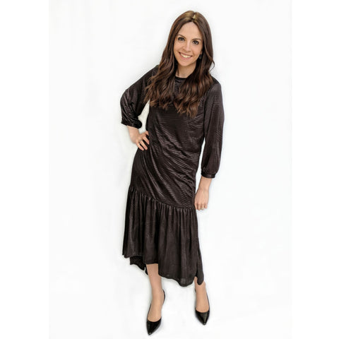Lexi High Low Ruffle Silk Dress: Black