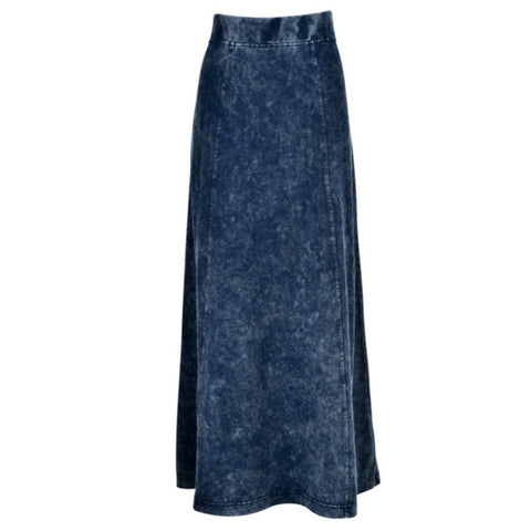 Mineral Wash Long Skirt: Blue
