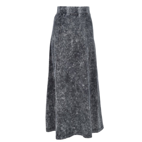 Mineral Wash Long Skirt: Black