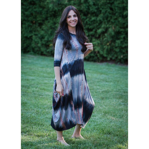 Georgiana Dress Tye Dye - Black/Grey Red Brick