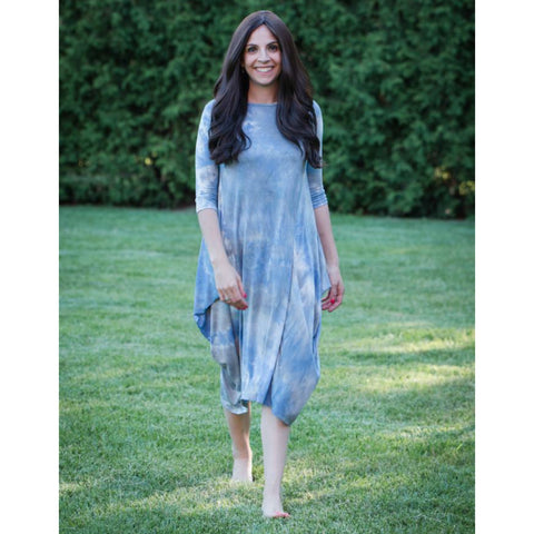 Georgiana Dress Tye Dye -Light Blue/Grey