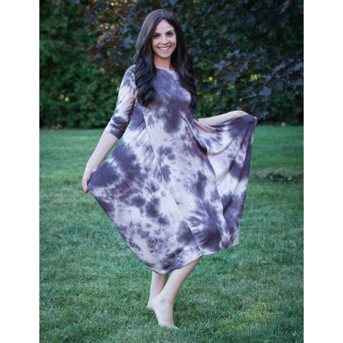 Georgiana Dress Tye Dye -Mocha Cloud