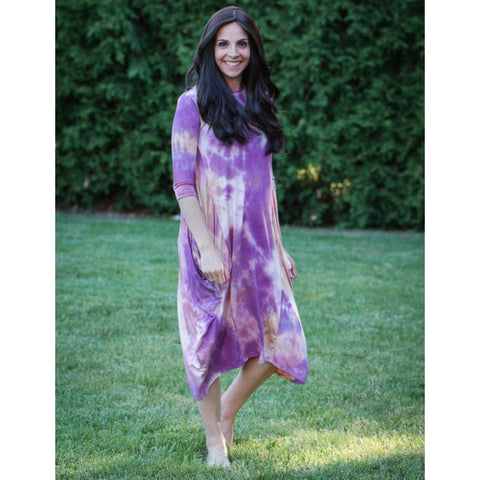 Georgiana Dress Tye Dye -Purple/Taupe