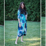 Georgiana Dress Tye Dye - Turquoise/Navy