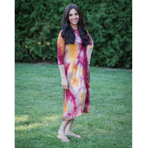Penny Tye Dye Dress-Yellow/Reddish