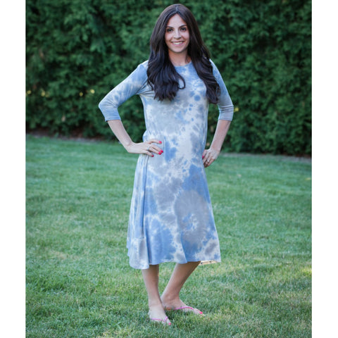 Penny Tye Dye Dress-Light Blue/Grey