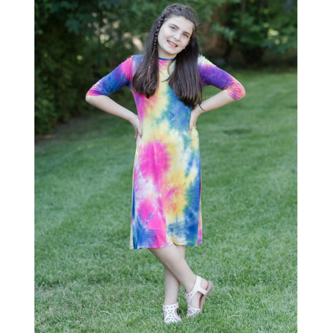 Teen Tye Dye Tunic Dress: Royal & Pink