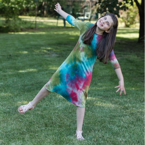 Teen Tye Dye Tunic Dress: Watermelon