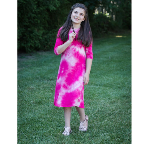 Teen Tye Dye Tunic Dress: Pink & White