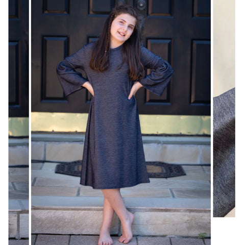 Scrunchy Sleeve Jean Dress: Teen