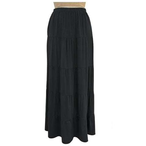 Tiered Maxi Skirt: Black