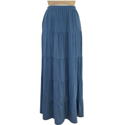 Tiered Maxi Skirt: Denim Blue