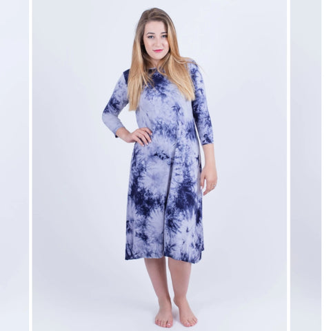 Penny Tye Dye Dress-Navy Tye Dye